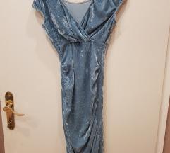 Plava kratka nabrana haljina