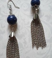Boho naušnice od lančića i lapis lazulija