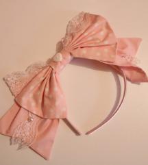 Pastelno roza Lolita mašna na točkice 🌸