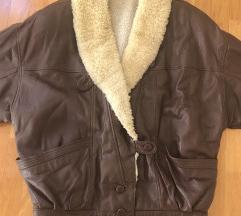 Kožna jakna aviator s pravim ovčjim runom