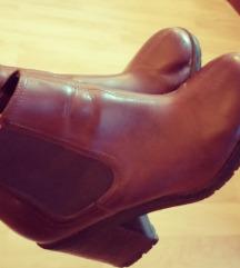 Smeđe kožne čizme/gležnjače H&M