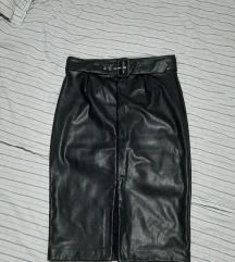 Pencil midi suknja od eko kože L