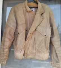 Kožna jakna muška smeđa bež veličina M