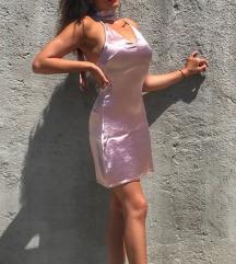 Nova svilenksta roza haljina S