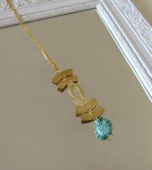 Mjedena ogrlica s howlit kamenom