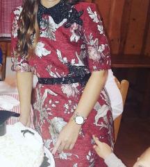 Zara crvena jacquard haljina s perlicama