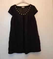 Crna haljina efekt brušene kože