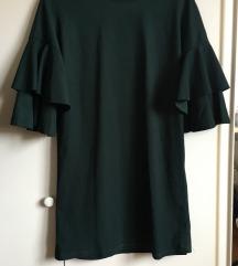 Zelena haljina s rukavima na volane