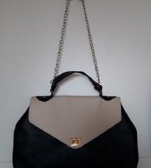 Velika čvrsta crno bež torba ručna ili na rame