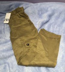 Zara camel bež safari hlače xs 34