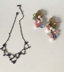 Vintage lančić/ogrlica + naušnice