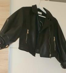 Kožna Mango jakna s puf rukavima NOVA!