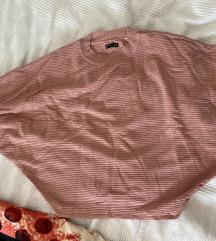 Rozi pulover sa šišmiš rukavima