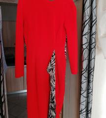 Crvena midi haljina- pt uključena