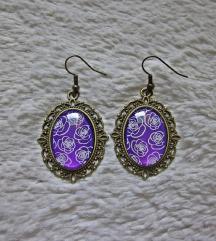 Naušnice ''Purple roses'' (ručni rad)
