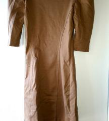Smedja haljinica s pufnastim rukavima senf boje 34