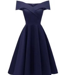 Tamnoplava midi haljina