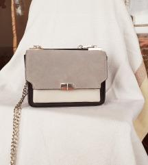 MANGO sivo-bijela torbica prava koža