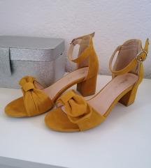 oker žute sandale na blok petu