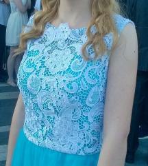 Duga svečanija plava haljina