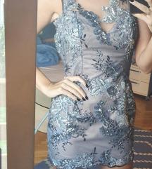 Crno siva čipkana haljina