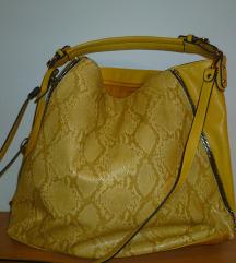 Velika žuta torba sa zmijskim uzorkom