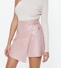 Roza kozna suknja