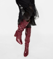 HIT Zara crvene bordo kožne čizme do koljena