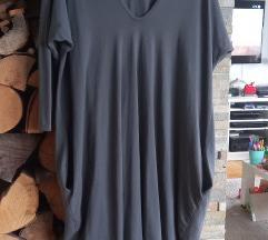 Siva plus size haljina
