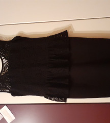 Crna peplum haljina s cipkom 34
