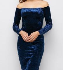 Plišana plava haljina NOVO choker Velvet