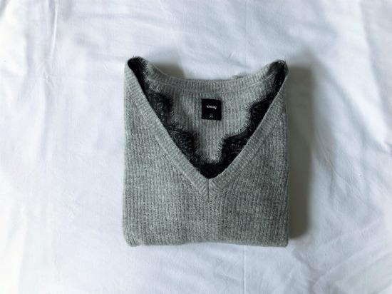 Sinsay sivi džemper ukrašen čipkom