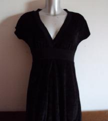 Crna plišana haljina tunika