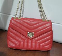 Crvena prava koža torba%