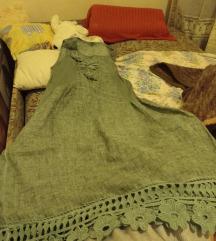 Lanena haljina novija zelene boje 40