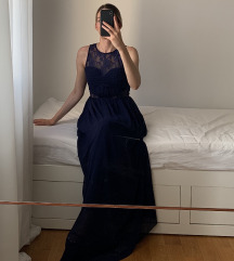 Duga maxi tamno plava svecana haljina