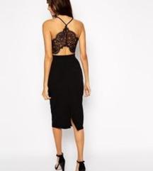 Midi uska crna haljina