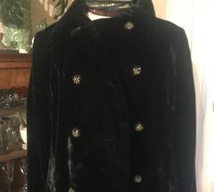 Crni dugi kaput od svilenog pliša, %950%