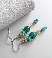 Unikatne handmade naušnice - srebro 925 i staklo