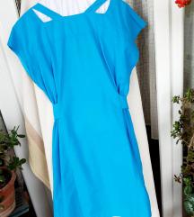 NOVA vintage tiirkizno plava haljina L
