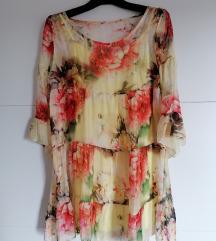 Cvjetna haljina 💚 svila🧡 UNIVERZALNA VELIČINA