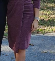 Haljina sa puf rukavima i šljokicama