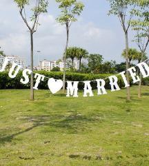 Natpis JUST MARRIED za vjenčanje ili djevojačku
