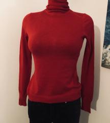 Zara crvena vesta dolčevita rolka Kašmir svila mix