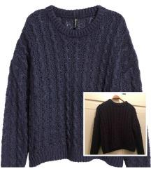 H&m plavi kratki pulover vel S