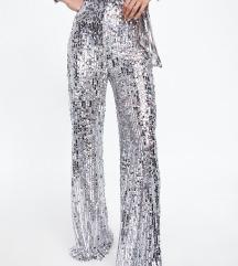 Zara hlače sa srebrnim šljokicama