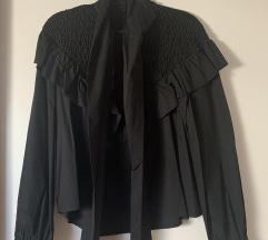 Zara crna bluza od popelina s mašnom