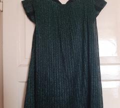 Zara šljokasta zelena tunika haljina S