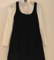 Crna Mango mini haljina od tanjeg samta