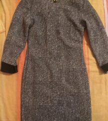 Haljina sa kožnim rubovima